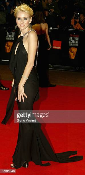 Actress Naomi Watts arrives at the 'The Orange British Academy Film Awards' at The Odeon Leicester Square on February 15 2004 in London Watts is...