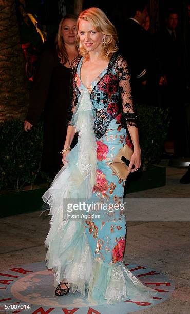Actress Naomi Watts arrives at the Vanity Fair Oscar Party at Mortons on March 5 2006 in West Hollywood California