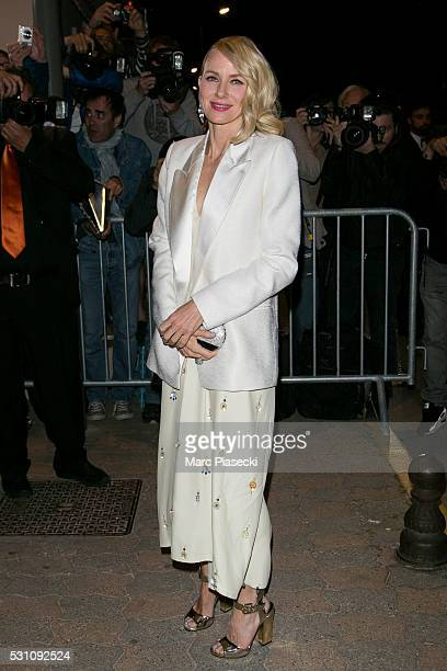 Actress Naomi Watts arrives to attend the 'Vanity Fair and Chanel' party during the annual 69th Cannes Film Festival at Tetou restaurant on May 12...