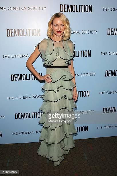 Actress Naomi Watts attends a screening of 'Demolition' hosted by Fox Searchlight Pictures with The Cinema Society at SVA Theatre on March 21 2016 in...