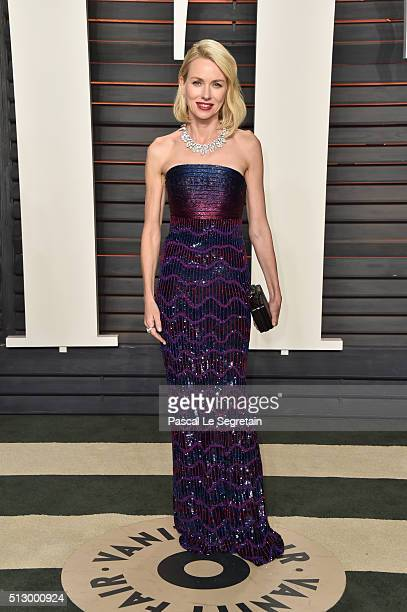 Actress Naomi Watts attends the 2016 Vanity Fair Oscar Party Hosted By Graydon Carter at the Wallis Annenberg Center for the Performing Arts on...