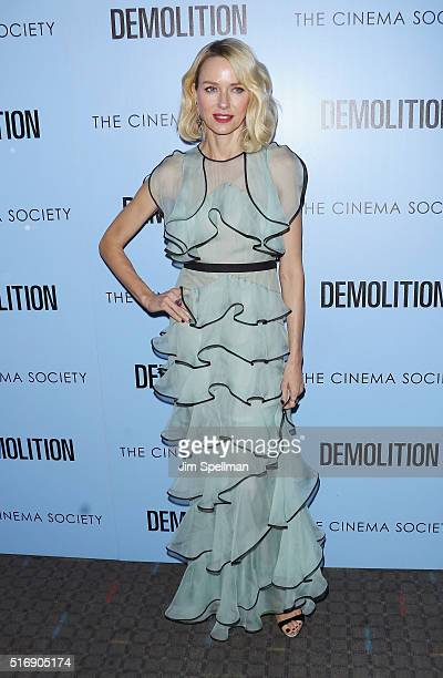 Actress Naomi Watts attends the Fox Searchlight Pictures with The Cinema Society host a screening of Demolition at the SVA Theater on March 21 2016...