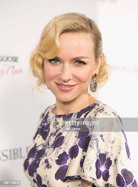 "Actress Naomi Watts attends the Los Angeles Premiere of ""The Impossible"" presented by Grey Goose Vodka at ArcLight Cinemas on December 10, 2012 in..."
