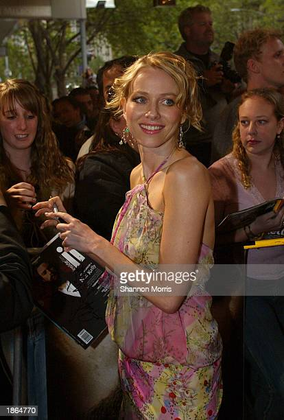 Actress Naomi Watts attends the World Premiere of the film Ned Kelly March 22 2003 at the Regent Theatre in Melbourne Australia
