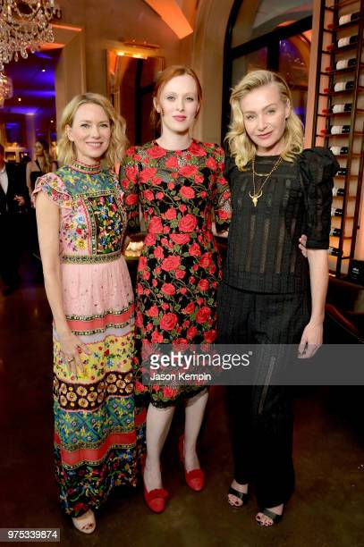 Actress Naomi Watts Host Committee Member Karen Elson and actress Portia de Rossi attend Restoration Hardware's unveiling at The Gallery at Green...