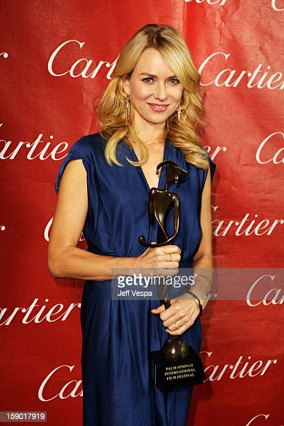 Actress Naomi Watts poses with the Desert Palm Achievement Award Actress at the 24th annual Palm Springs International Film Festival Awards Gala at...