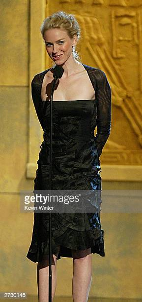Actress Naomi Watts speaks on stage during the 2003 Presentation of the 18th Annual American Cinematheque Award honoring Nicole Kidman at the Beverly...