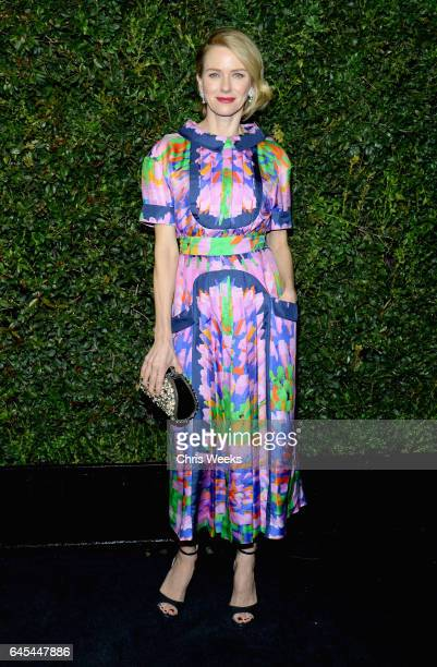 Actress Naomi Watts wearing CHANEL attends the Charles Finch and CHANEL PreOscar Awards Dinner at Madeo Restaurant on February 25 2017 in Beverly...