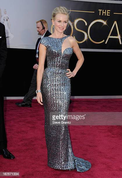 Actress Naomi Watts wearing Giorgio Armani arrives at the Oscars at Hollywood Highland Center on February 24 2013 in Hollywood California