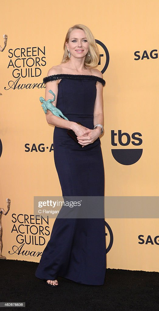 Actress Naomi Watts, winner of Outstanding Performance by a Cast in a Motion Picture for 'Birdman,' poses in the press room at TNT's 21st Annual Screen Actors Guild Awards at The Shrine Auditorium on January 25, 2015 in Los Angeles, California.