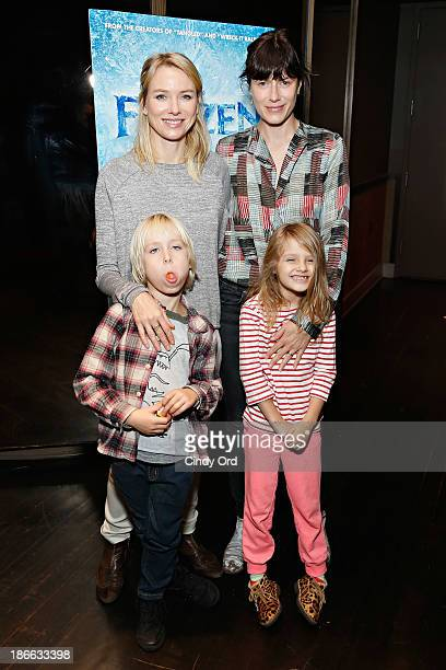 Actress Naomi Watts with son Alexander Schreiber and Sunrise Coigney with daughter Odette Ruffalo attend The Cinema Society's special screening of...