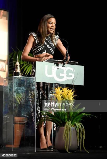 Actress Naomie Harris accetps the Virtuosos Award presented by UGG during the 32nd Santa Barbara International Film Festival at the Arlington Theatre...
