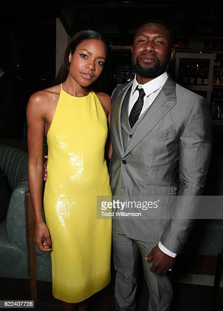 Actress Naomie Harris and athlete Trevante Rhodes attend the Hollywood Foreign Press Association and InStyles Celebration of the 2017 Golden Globe...