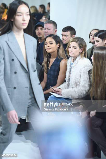 Actress Naomie Harris and Cindy Levy attend the Calvin Klein Collection Front Row during New York Fashion Week on February 10 2017 in New York City