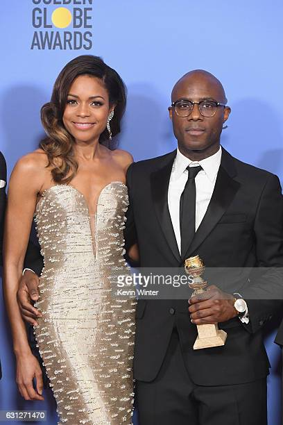 Actress Naomie Harris and director Barry Jenkins winners of Best Motion Picture Drama for 'Moonlight' pose in the press room during the 74th Annual...