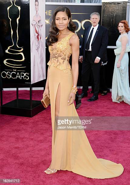 Actress Naomie Harris arrives at the Oscars at Hollywood Highland Center on February 24 2013 in Hollywood California