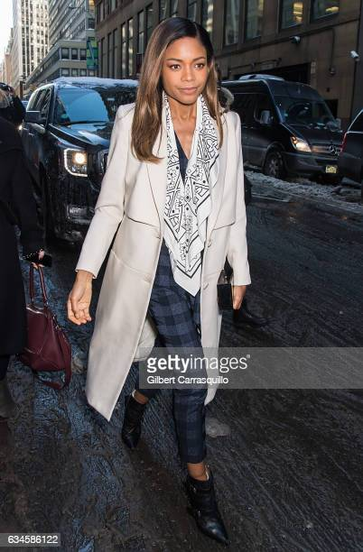 Actress Naomie Harris is seen arriving at the Calvin Klein Collection fashion show with new chief creative officer Raf Simons during New York Fashion...