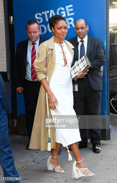 Actress Naomie Harris is seen leaving good morning america on October 21, 2019 in New York City.