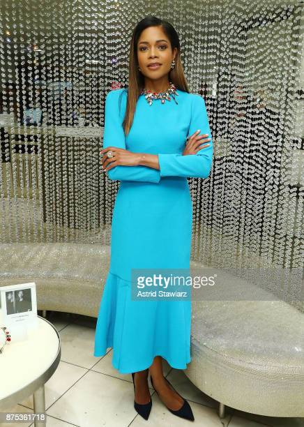 Actress Naomie Harris poses for photos inside the Swarovski store during the 2017 Swarovski Star raising to the top of the Rockefeller Center...