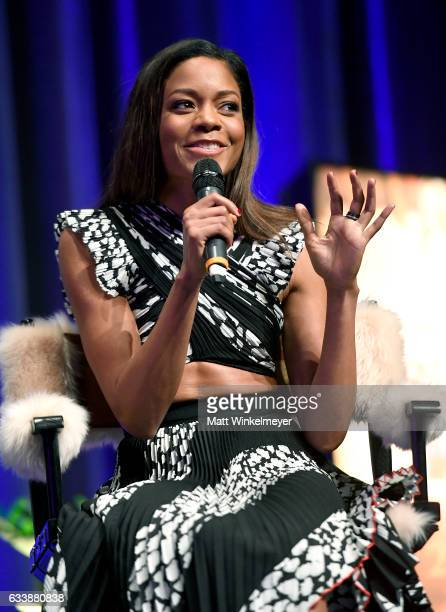 Actress Naomie Harris speaks onstage at the Virtuosos Award presented by UGG during the 32nd Santa Barbara International Film Festival at the...