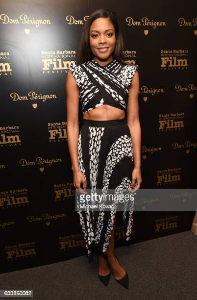 Actress Naomie Harris visits the Dom Perignon Lounge before receiving the Virtuosos Award at The Santa Barbara International Film Festival on...