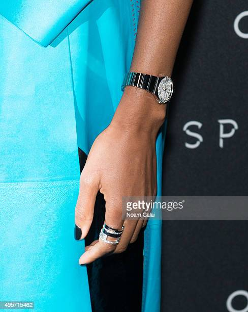 Actress Naomie Harris watch and ring detail attends the New York OMEGA Spectre screening on November 4 2015 in New York City