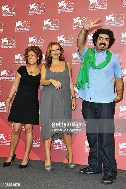 Actress Narges Kalhor Director Monica Maggioni and actor Ebrahim Mehtari attend the Out of Tehran photocall during the 68th Venice Film Festival at...