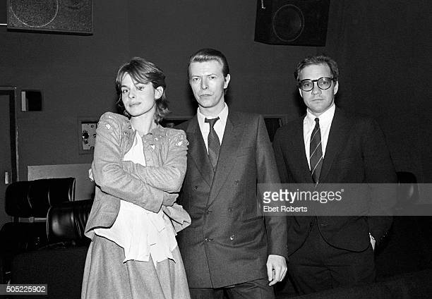 Actress Nastassja Kinski David Bowie and director Paul Schrader at a private screening of Paul's movie 'Cat People' which stars Nastassja and has...