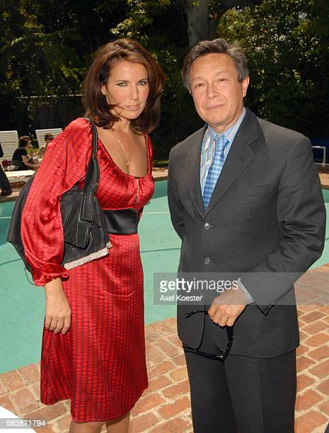 Actress Natacha Amal and French Consul General Philippe Larrieu attend a luncheon at the French Consul General's Residence during the 11th Annual...