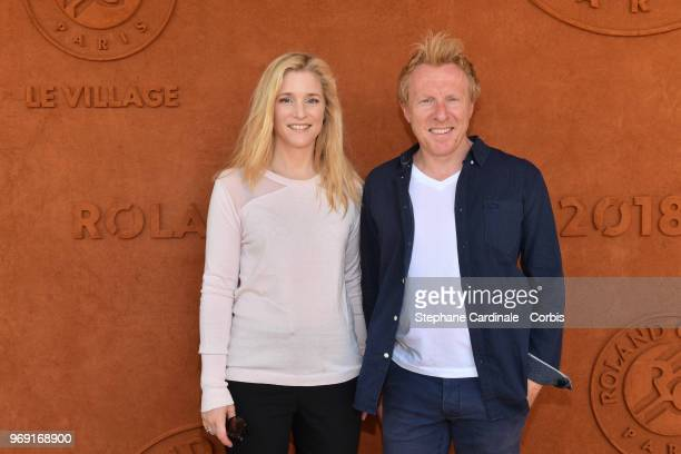 Actress Natacha Regnier and her companion journalist Jerome Pitorin attend the 2018 French Open Day Twelve at Roland Garros on June 7 2018 in Paris...