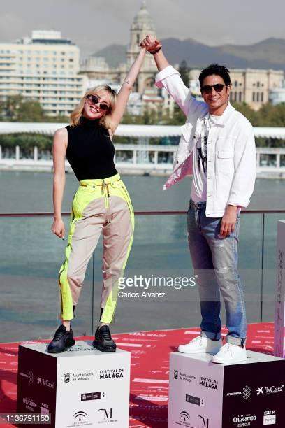 Actress Natalia de Molina and actor Alberto Jo Lee attends '522 Un Gato Un Chino y mi Padre' phtocall during the 22th Malaga Film Festival on March...