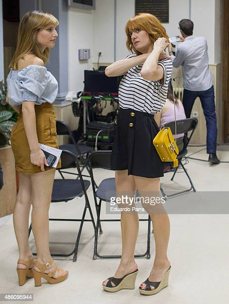 Actress Natalia de Molina and actress Alexandra Jimenez on set filming 'Kiki' at Centro Regional de Innovación on August 31 2015 in Madrid Spain