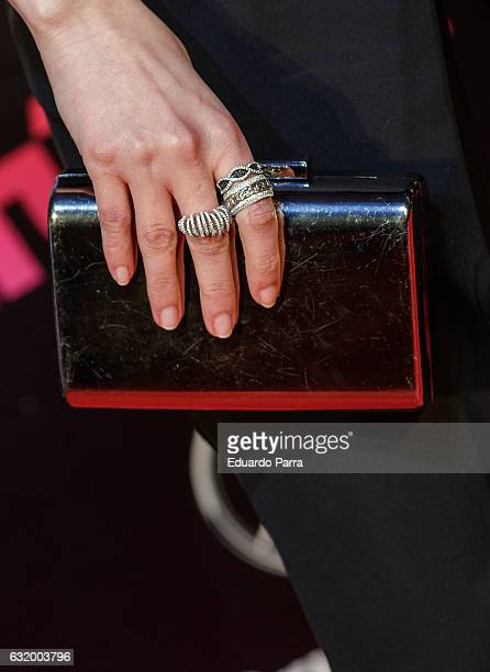 Actress Natalia de Molina bag detail attends 'Los del Tunel' premiere at Capitol cinema on January 18 2017 in Madrid Spain