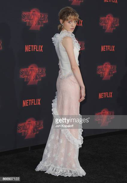 Actress Natalia Dyer arrives at the premiere of Netflix's 'Stranger Things' Season 2 at Regency Bruin Theatre on October 26 2017 in Los Angeles...