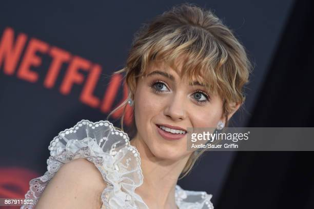 Actress Natalia Dyer arrives at the premiere of Netflix's 'Stranger Things' Season 2 at Regency Bruin Theatre on October 26, 2017 in Los Angeles,...