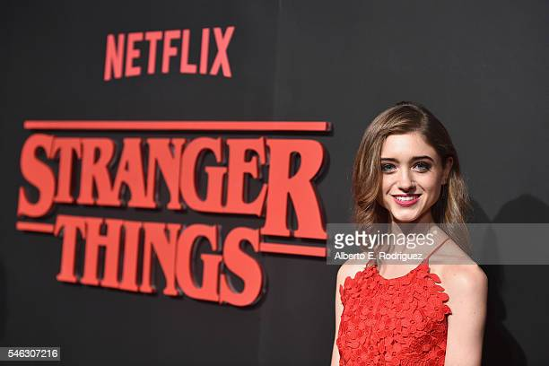 Actress Natalia Dyer attends the Premiere of Netflix's Stranger Things at Mack Sennett Studios on July 11 2016 in Los Angeles California