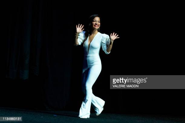 Actress Natalia Reyes speaks on stage during the CinemaCon Paramount Pictures Exclusive Presentation at the Colosseum Caesars Palace on April 4 in...