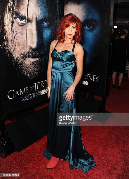 Actress Natalia Tena arrives at the premiere of HBO's 'Game Of Thrones' Season 3 at TCL Chinese Theatre on March 18 2013 in Hollywood California