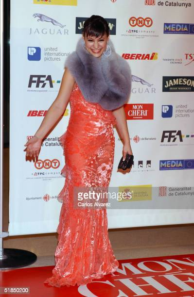 """Actress Natalia Verbeke arrives at the """"European Film Awards 2004"""" on December 11, 2004 at The Forum in Barcelona, Spain. The annual film awards are..."""