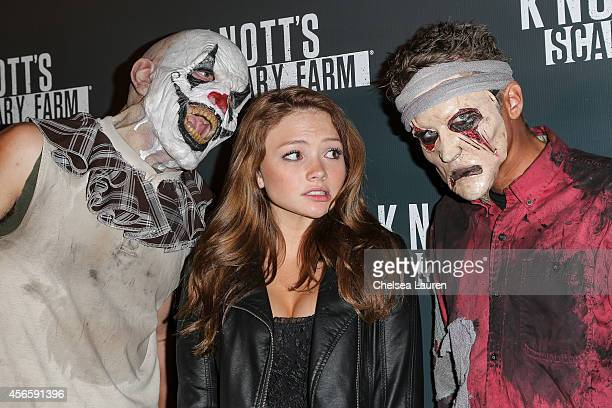 Actress Natalie Alyn Lind attends the Knotts Scary Farm celebrity VIP opening at Knott's Berry Farm on October 2 2014 in Buena Park California