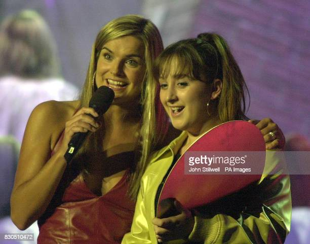 Actress Natalie Cassidy who plays Sonia Jackson in the BBC soap Eastenders with TV presenter and host Katy Hill during the Smash Hits Poll Winners'...