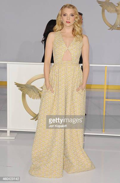 Actress Natalie Dormer arrives at the Los Angele Premiere 'The Hunger Games Mockingjay Part 1' at Nokia Theatre LA Live on November 17 2014 in Los...