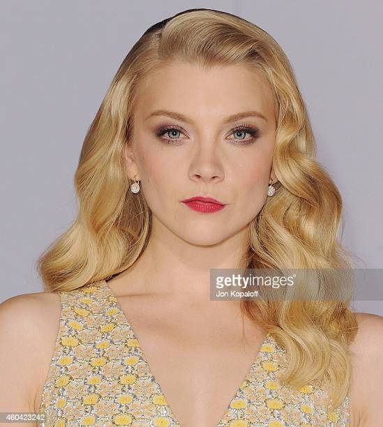 Actress Natalie Dormer arrives at the Los Angele Premiere The Hunger Games Mockingjay Part 1 at Nokia Theatre LA Live on November 17 2014 in Los...