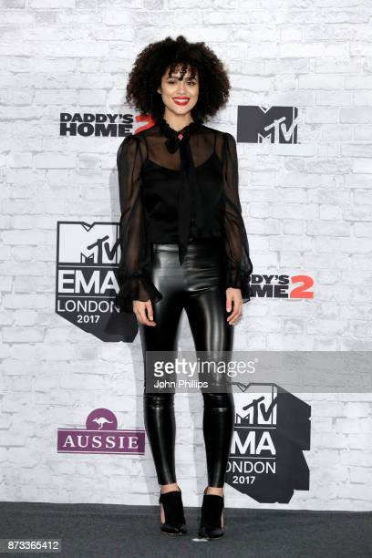 Actress Natalie Emmanuel poses in the winner's room during the MTV EMAs 2017 held at The SSE Arena Wembley on November 12 2017 in London England