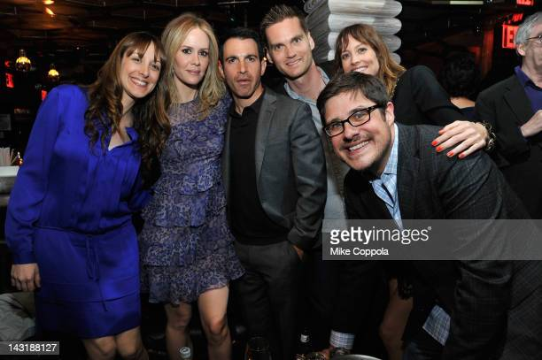 Actress Natalie Gold actress Sarah Paulson actor Chris Messina filmmaker Tim O'Brien actress Alexie Gilmore and actor Rich Sommer attend Tribeca Film...