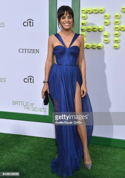 Actress Natalie Morales arrives at the premiere of Fox Searchlight Pictures' 'Battle of the Sexes' at Regency Village Theatre on September 16 2017 in...