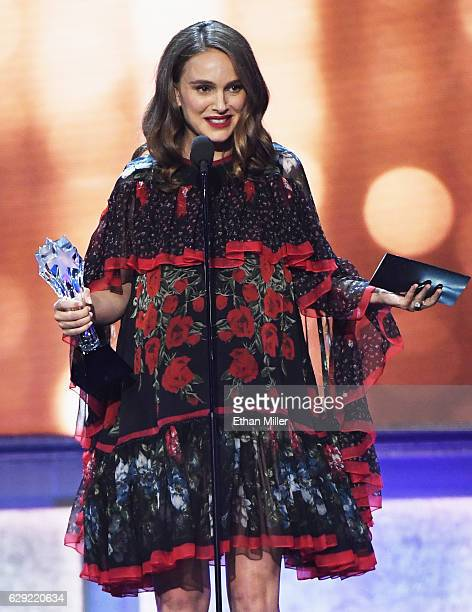 Actress Natalie Portman accepts the award for Best Actress for 'Jackie' onstage during the 22nd Annual Critics' Choice Awards at Barker Hangar on...