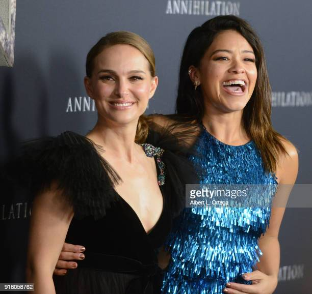 Actress Natalie Portman and actress Gina Rodriguez arrive for the premiere of Paramount Pictures' 'Annihilation' held at Regency Village Theatre on...