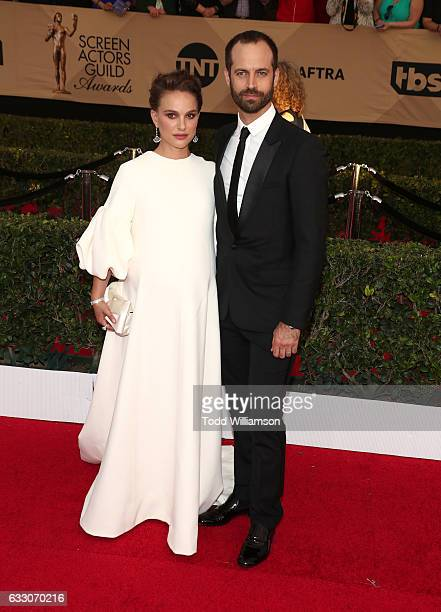Actress Natalie Portman and Benajmin Millepied arrive at the 23rd Annual Screen Actors Guild Awards at The Shrine Expo Hall on January 29 2017 in Los...