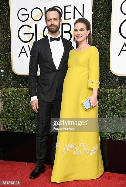 Actress Natalie Portman and Benjamin Millepied attend the 74th Annual Golden Globe Awards at The Beverly Hilton Hotel on January 8 2017 in Beverly...